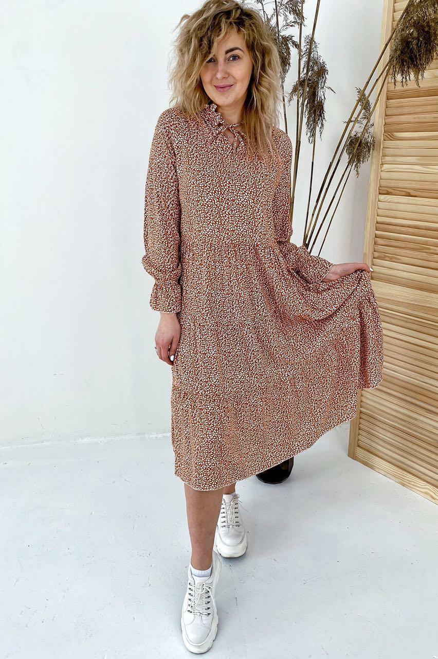 Необычное платье миди с флористическим узором  VOOL Style - св-коричн цвет, S (есть размеры)