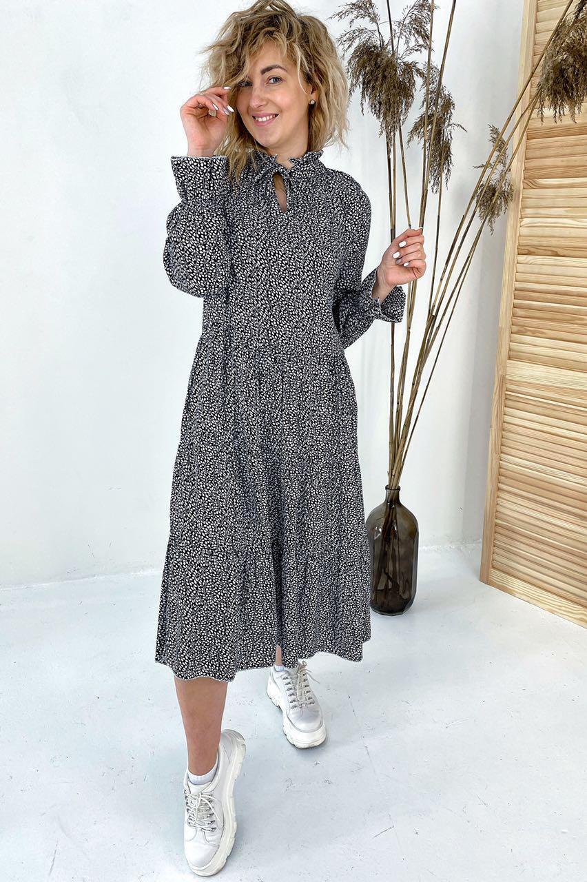 Необычное платье миди с флористическим узором  VOOL Style - черный цвет, S (есть размеры)