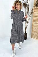 Необычное платье миди с флористическим узором  VOOL Style - черный цвет, S (есть размеры), фото 1