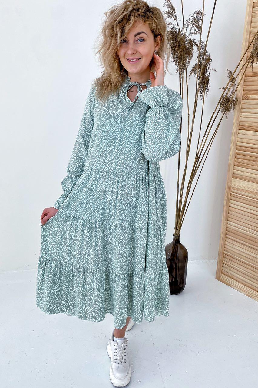 Необычное платье миди с флористическим узором  VOOL Style - мятный цвет, S (есть размеры)