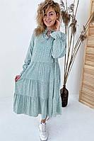 Необычное платье миди с флористическим узором  VOOL Style - мятный цвет, S (есть размеры), фото 1