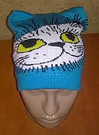 Вязанная демисезонная шапочка для девочек