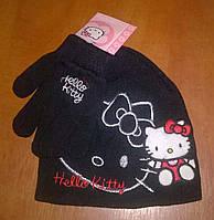 Вязанная демисезонный комплект: шапочка с перчатками Hello Kitty