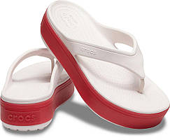 Crocs Шлепанцы кроксы флипы на платформе Women's Crocband Platform Flip Flop Barely Pink/Pepper