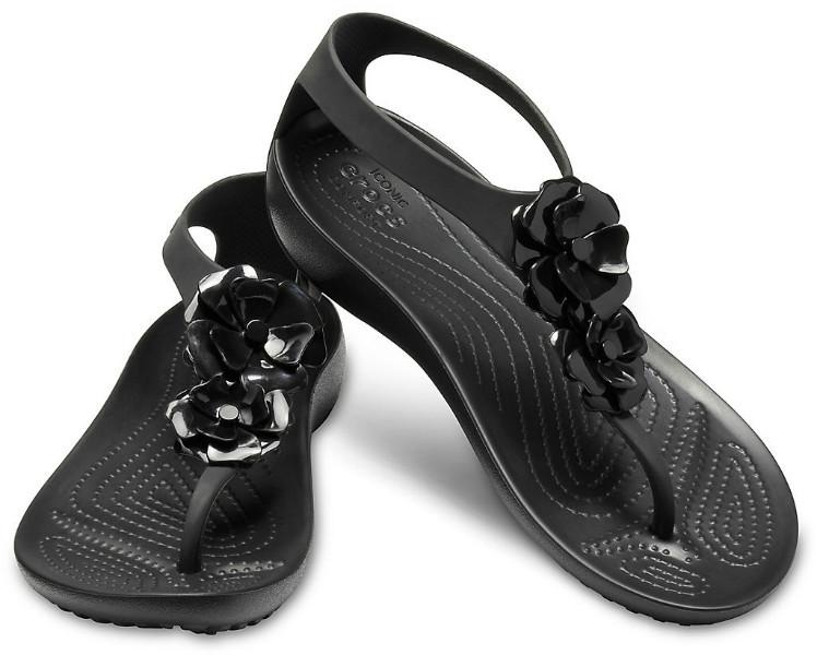 Crocs Cандалии кроксы цветы черный Serena Embellish flip 205600 Black/Black