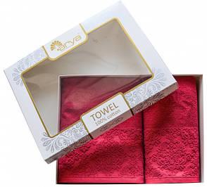 Набор полотенец для лица и тела Arya Galia 50*90 см + 70*140 см махровые жаккардовые банные в коробке, фото 2