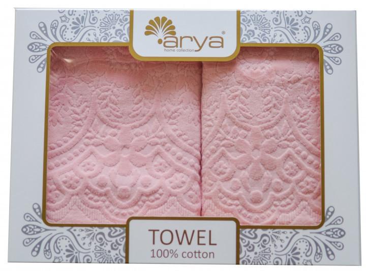Набор полотенец для лица и тела Arya Sabino 50*90 см + 70*140 см бархатные жаккардовые банные в коробке