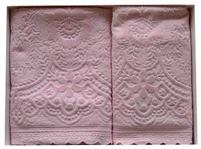 Набор полотенец для лица и тела Arya Sabino 50*90 см + 70*140 см бархатные жаккардовые банные в коробке, фото 2