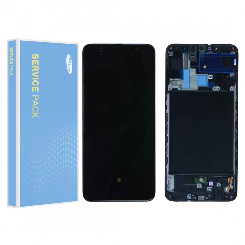 Дисплей (LCD) Samsung GH82-19747A A705 Galaxy A70 (2019) Amoled с тачскрином и рамкой, черный (сервисный