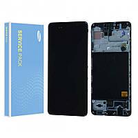 Дисплей (LCD) Samsung GH82-21190A A515 Galaxy A51 (2019) AMOLED з тачскріном і рамкою, чорний (сервісний