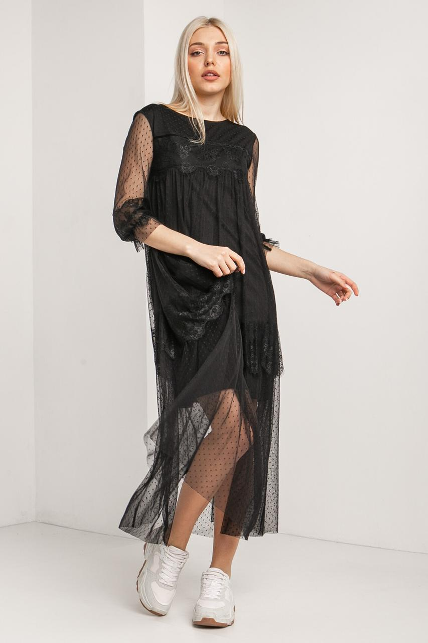 Двухслойное нарядное платье QUEEN из черного фатина в горошек с кружевом