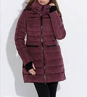 Пуховик женский  snowimage v320 черный/красно-фиолетовый