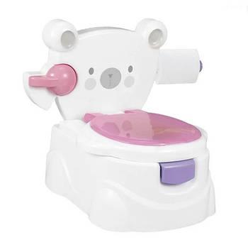 Детский музыкальный горшок для девочки 3 в 1 «Мишка» розовый