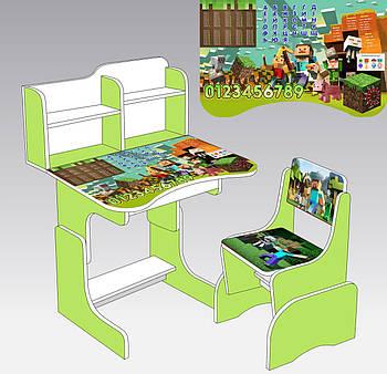 "Парта школьная ""Майнкрафт"" ЛДСП ПШ 007 (69*45 см), цвет салатовый + 1 стул"
