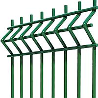 Секции ограждения из сварной оцинкованной сетки с изгибом с полимерным покрытием 1.2*2,5м