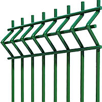 Секции ограждения из сварной оцинкованной сетки с изгибом с полимерным покрытием 1.5*2,5м