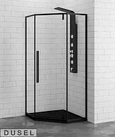 Душевая кабина DUSEL DL197 Black Matt 90х90х190 без поддона, прозрачное стекло, TR-50190