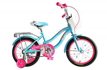 """Детский велосипед для девочки с дополнительными колесами 16"""" Formula FLOWER Голубой (OPS-FRK-16-113)"""