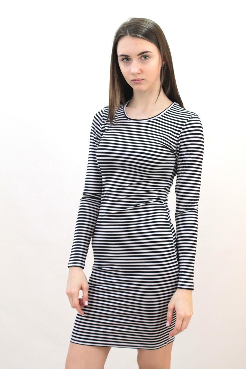 Платье женское полосатое короткое облегающее с длинным рукавом