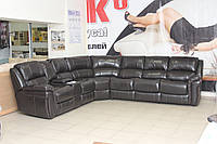 Кутовий диван з натуральної шкіри з двома електричними реклайнерами і розкладним механізмом, фото 1