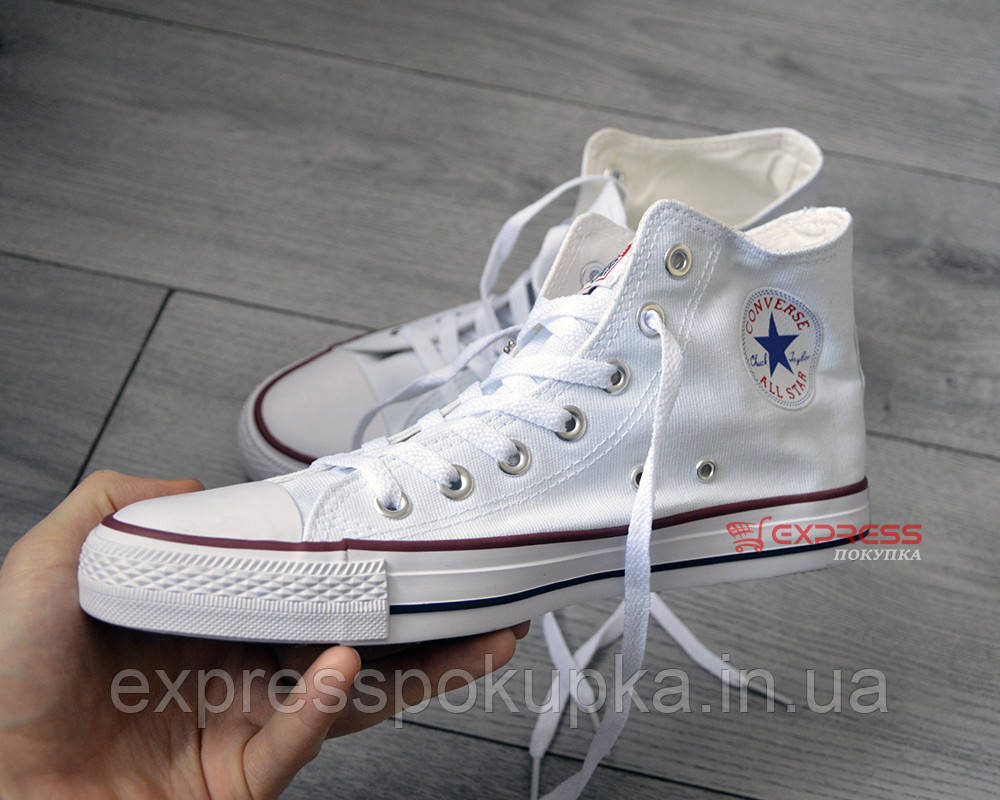 Женские/мужские кеды Converse Chuck Taylor All Star белые высокие White Hight