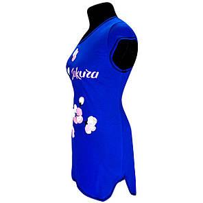 Туника с изображением сакуры! 52-54, Синий, фото 2