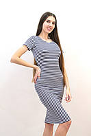 Платье женское с коротким рукавом полосатое