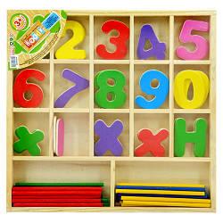 Деревянная игрушка Набор первоклассника MD 0020 (120шт) цифры,счетные палочки,лоток,21-20-2см