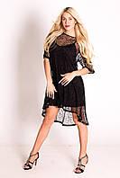Сукня святкова чорна на брителях із накідкою-сіткою з коротким рукавом