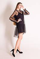 Платье праздничное черное  на бретелях с накидкой -сеткой с длинным рукавом, фото 1