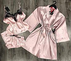 Женский атласный набор халат и пижама(майка+шорты), домашняя одежда.