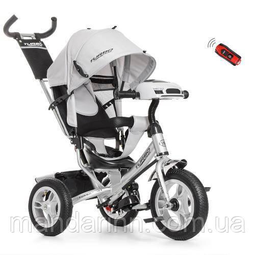 Детский Трехколесный велосипед-коляска с фарой USB Турбо M 3115HA-19 Серая