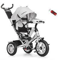 Детский Трехколесный велосипед-коляска с фарой USB Турбо M 3115HA-19 Серая, фото 1