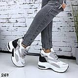 Женские кроссовки на платформе 5см и 3 см, очень удобные, белый+серый+черный+питон, фото 2
