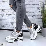 Женские кроссовки на платформе 5см и 3 см, очень удобные, белый+серый+черный+питон, фото 3
