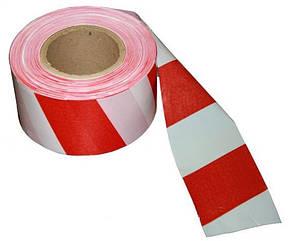 Сигнальная оградительная лента красно белая 72мм*100м