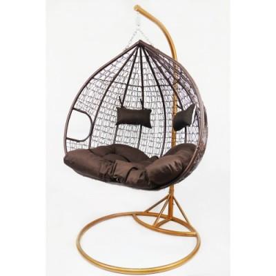Подвесное кресло-качалка кокон B-183Е коричневое