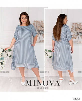 Платье женское большой размер №259Б-синий  50 52 54 56 58 60, фото 2