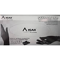 Перчатки нитриловые IGAR L нестерильные неопудренные (100 пар/уп) черные