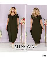 Платье женское большой размер в стиле бохо №168-хаки| 50-52|54-56|58-60|62-64
