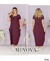 Платье женское большой размер в стиле бохо №168-сливовый| 50-52|54-56|58-60|62-64