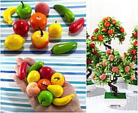 """(100шт) Декоративные мини фрукты/овощи """"МИКС"""" ≈40х20мм, пенопласт"""