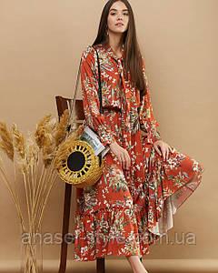"""Платье """"LIONA"""" терракотовый весна-осень"""