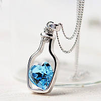 Підвіска пляшечка з камінчиком блакитного кольору у формі серця