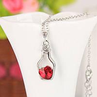 Підвіска пляшечка з камінчиком червоного кольору у формі серця