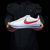 Мужские кроссовки Nike Cortez (Найк Кортез), белые с красным лого, код DK-1270