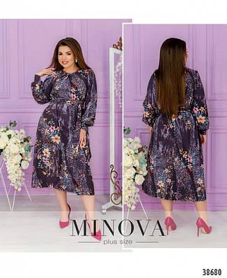 Платье женское большой размер №1744-сливовый| 48|50|52|54|56|58|60, фото 2