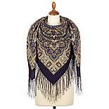 Шиповник 1883-14, павлопосадский платок шерстяной (двуниточная шерсть) с шелковой вязаной бахромой, фото 3