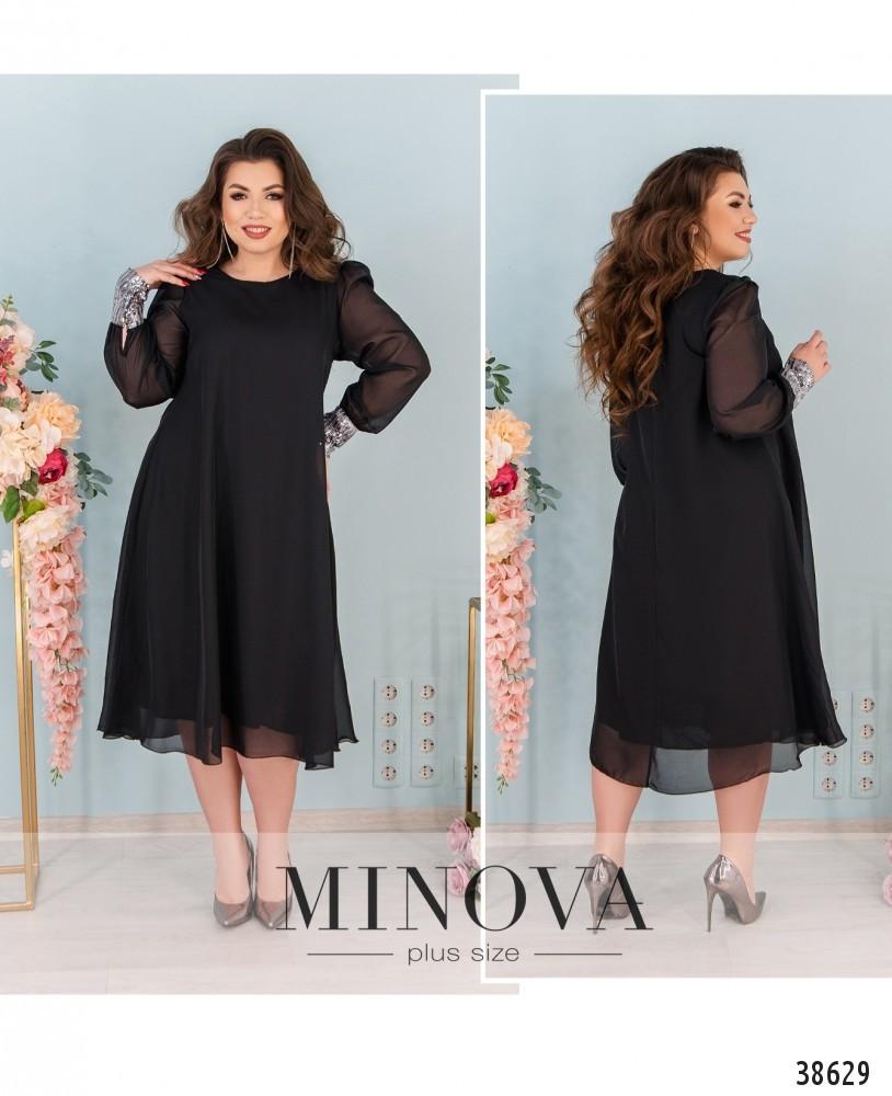 Платье женское большой размер №1011-черный| 48-50|52-54|56-58|60-62