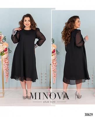Платье женское большой размер №1011-черный| 48-50|52-54|56-58|60-62, фото 2